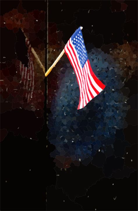 small flag reflects  names inscribed