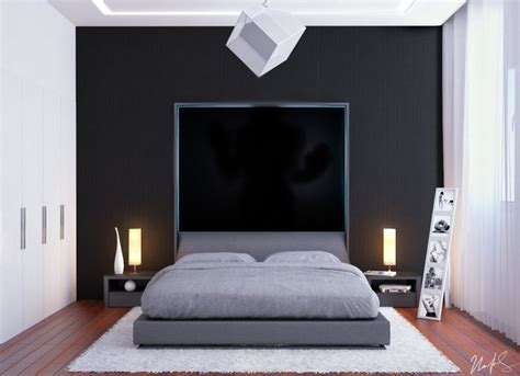 d patches on walls in bedroom black feature wall design and grey platform bed unit with
