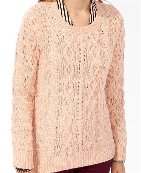 forever 21 cable knit sweater forever 21 cable knit sweater in orange lyst