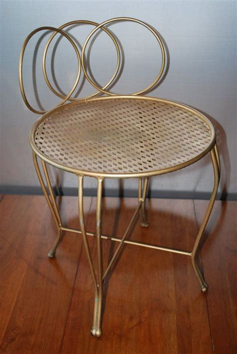small metal vanity chair vintage metal vanity chair goldtone curved circular