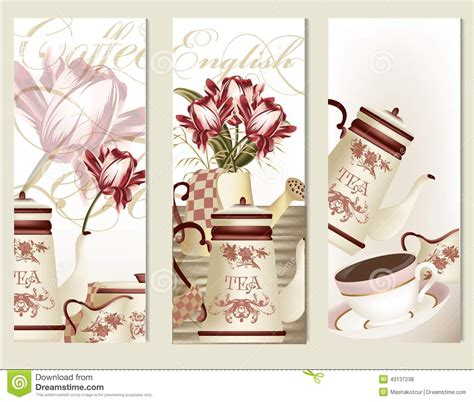 Ethnic Styles Kyushu Tea Set by Brochure Vector Set With Vintage Tea Accesories Stock
