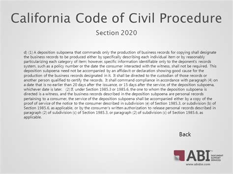 section 20 procedure california discovery law records retrieval hipaa ppt