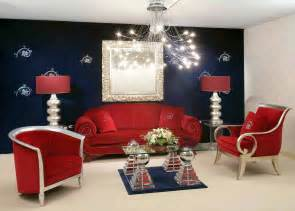 Galerry design ideas with red sofa