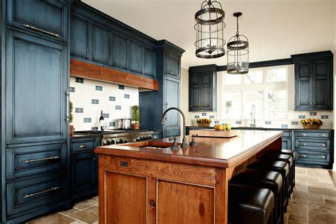 Blue Distressed Kitchen Cabinets by Reclaimed Wood Countertops Wood Countertop Butcherblock