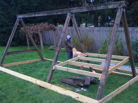 t frame swing set swing set converted into a frame coop almost completed