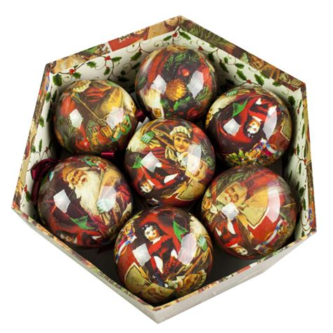traditional santa decoupage baubles in gift box 14 x