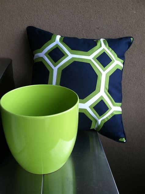 outdoor patio pillow  pot lime green navy blue