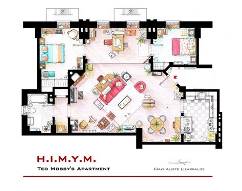 watercolor floorplans from recent television shows and films artist sketches the floor plans of popular tv homes