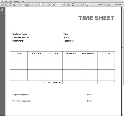 Time Card Template Pdf by Printable Blank Pdf Time Card