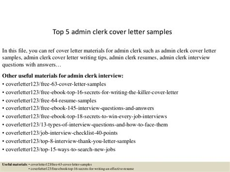 top 5 admin clerk cover letter sles