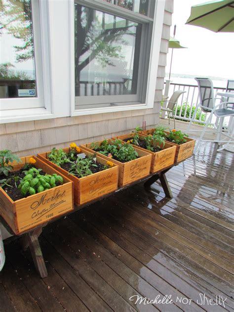 Decked Garden Ideas Diy Deck Herb Garden Using Wine Boxes