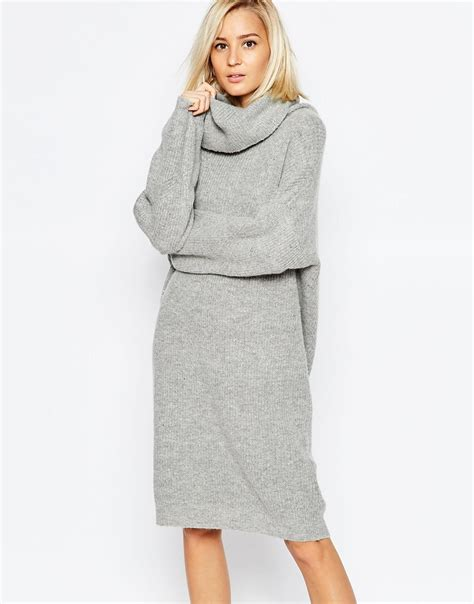knitted dress selected linea rollneck knitted dress in light grey in