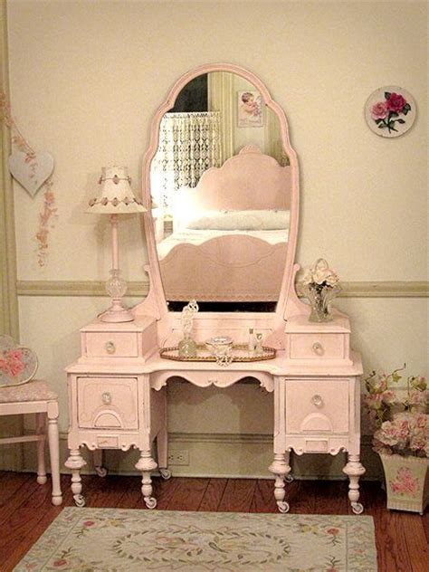 beautiful antique pink vanity with bench chic interiors