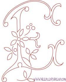 free pattern for embroidered monograms the letter e