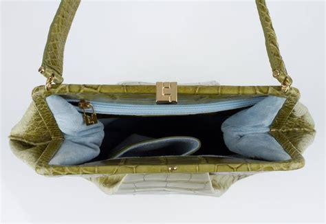 Lambertson Truex Palm Crocodile Bag by Lambertson Truex Green Genuine Alligator Large Framed