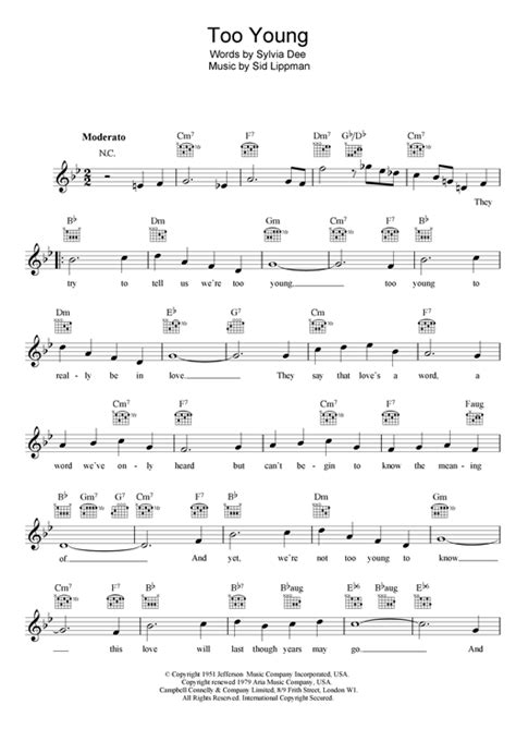 piano sheet music christmas song nat king cole too young chords by nat king cole melody line
