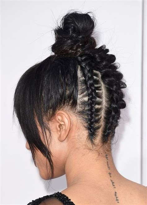 images of black braided bunstyle with bangs in back hairstyle trending hairstyle bangs top knot bun african back