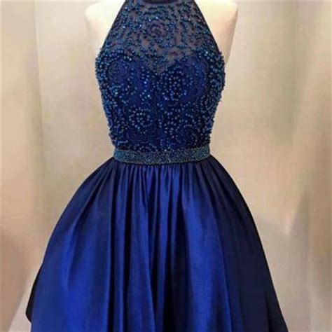 navy blue halter satin a line homecoming dress cocktail dress with beaded top on luulla