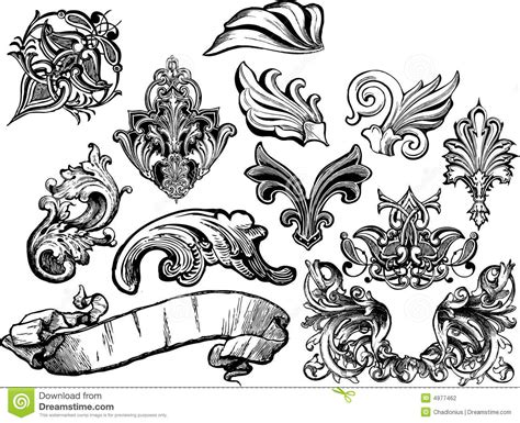 florals and scrolls vector set 1 stock vector