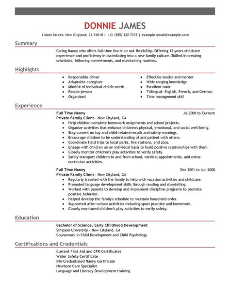 time nanny resume exle personal services