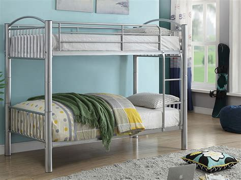 stackable bunk beds twin twin silver slatted stackable bunk bed bailey s