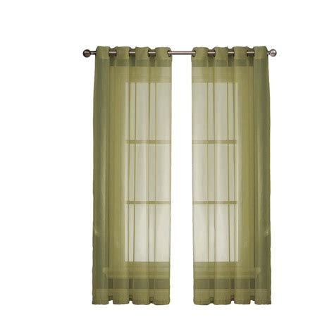 wide curtain panel window elements diamond sheer voile sage grommet extra
