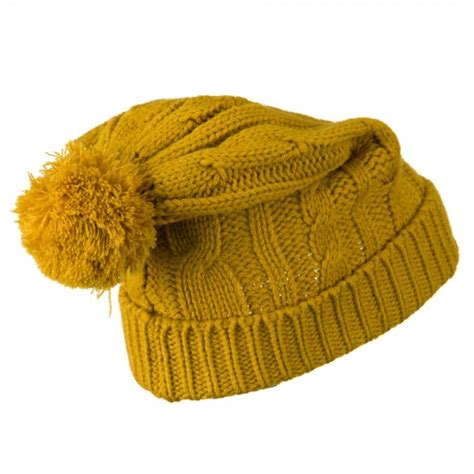 yellow knit hat beanie yellow cable knit hat with pom pom e4hats