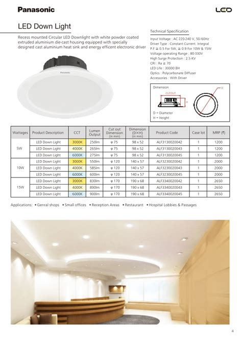 Lu Led Philips Vs Panasonic panasonic catalogue pricelist of led luminaires