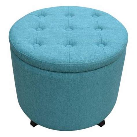 Home Decorators Collection Modern Fabric Storage Ottoman Turquoise Storage Ottoman
