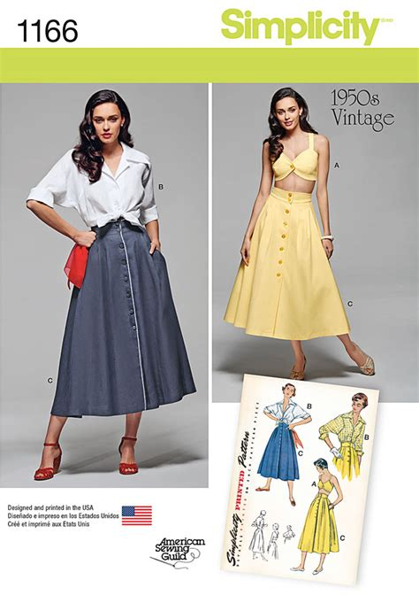 pattern review best patterns 2015 simplicity 1166 misses vintage blouse skirt and bra top