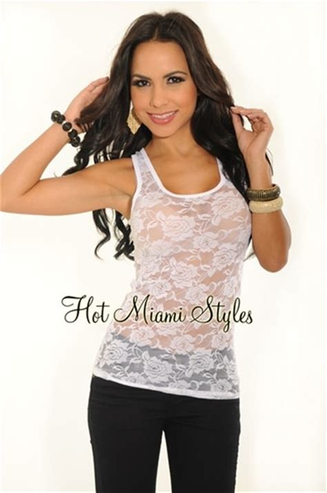 Sheer Top With Lace Tank Top white sheer lace racer back tank top