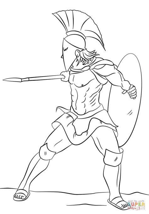 printable spartan warrior drawings pictures to pin on