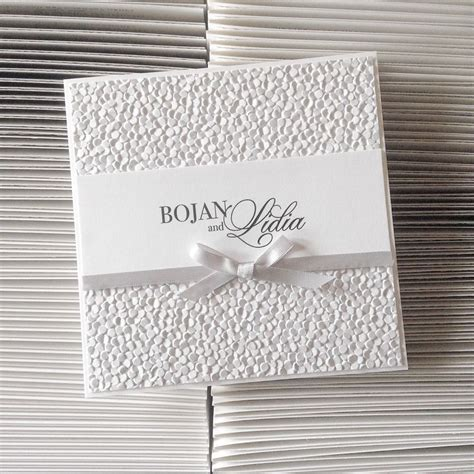 Embossed Wedding Invitations by Classic Square Wedding Invitation With Pebble Embossed