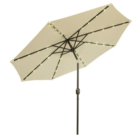 Lighted Patio Umbrella Solar Trademark Innovations 9 Ft Deluxe Solar Powered Led Lighted Patio Umbrella In Beige Patumb Led