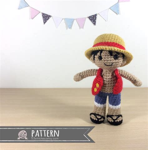 amigurumi luffy pattern monkey d luffy amigurumi crochet doll pattern by 53stitches