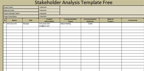 Stakeholder Analysis Template Free Exceltemple Stakeholder Matrix Template Excel