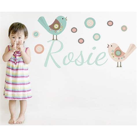 Name Wall Sticker button bird name wall stickers by littleprints