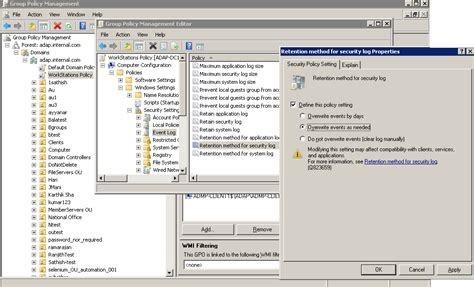 configure xp security configure event log settings for auditing