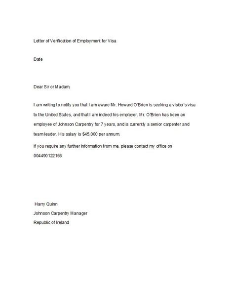 example of employment verification letter professional writing