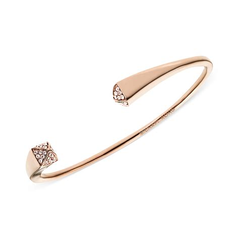 Michael Kors Rose Gold Tone Pave Pyramid Cuff Bracelet in Gold (rose)   Lyst