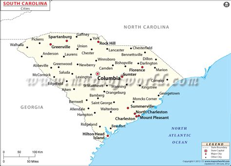 carolina cities map buy south carolina cities map