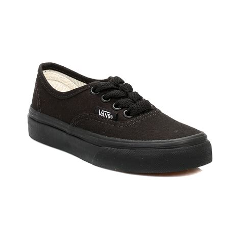 vans boys trainers black authentic canvas sneakers sport casual shoes ebay
