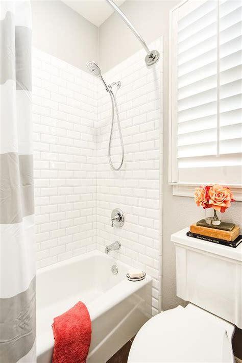 beveled subway tile shower ceiling mounted shower curtain rod design ideas