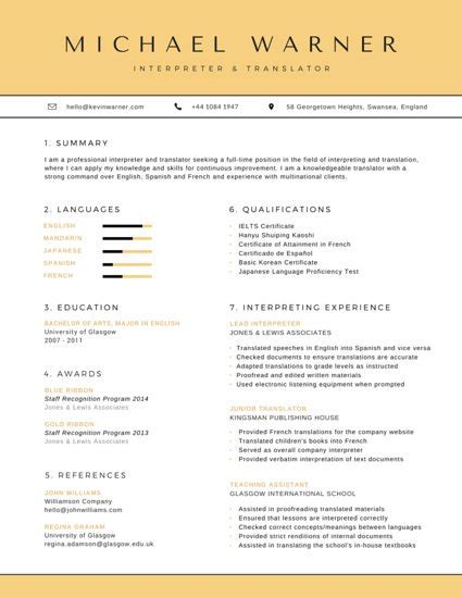 Translator Resume Template by Formal Retail Marketing Consultant Resume Templates By Canva