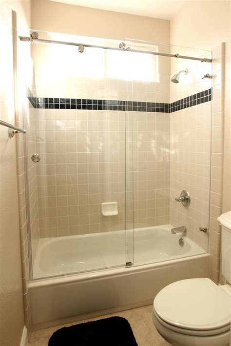 bath tub shower door skyline series sky 3 8 glass three 1 190 inch rollers frameless
