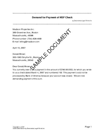 Demand Letter Bank demand for payment of nsf check canada templates
