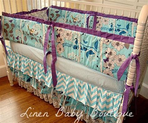 aqua grey and purple crib bedding baby bedding 2