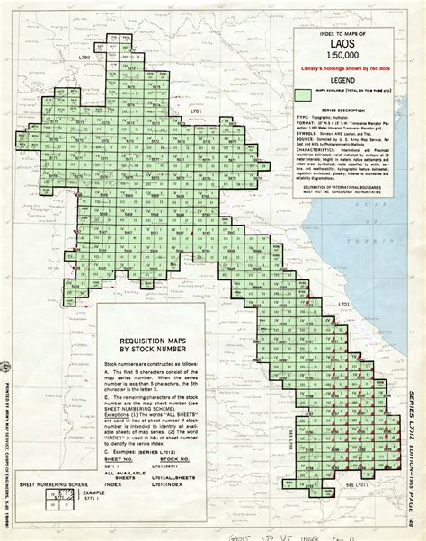 where does the series number on a map appear u s army map service ams series l7012 index map laos 1 50 000