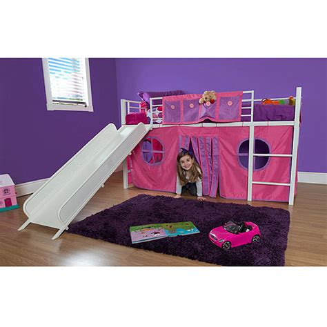 twin bed with slide girl twin loft bed with slide walmart com