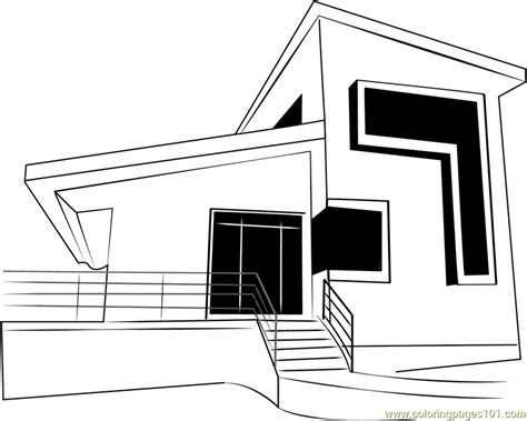modern house coloring page modern home coloring pages